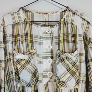 Free people plaid cropped woven blouse